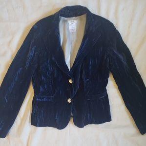 CACH'E Midnight Blue Crushed Velvet Blazer